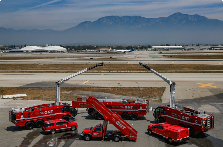 Fire trucks on airfield at Ontario airport